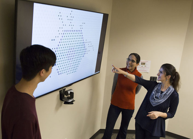 Daymude, Richa and Derakhshandeh view a computer simulation they developed to depict how their self-organizing particles can act together to form a coating over large surfaces