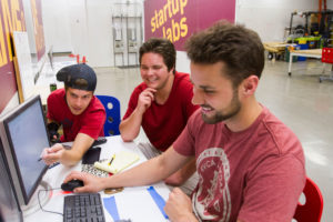 Students working in the Startup Labs on the Polytechnic campus