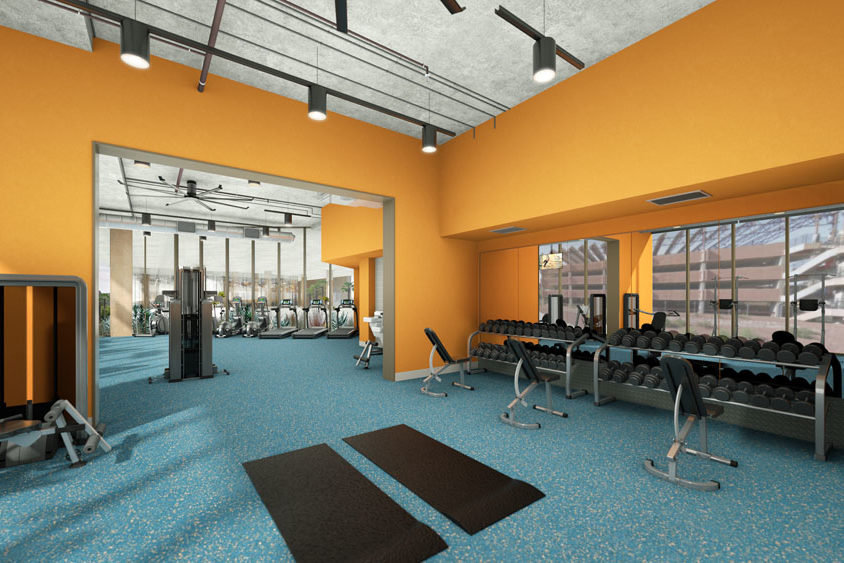 Architect's rendering of a Fulton Schools Residential Community Fitness Center with weight room and treadmills in view