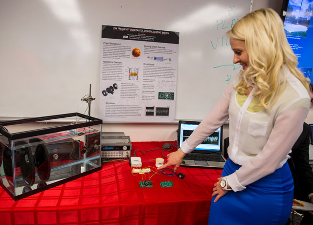 A student in the School for Electrical, Computer and Energy Engineering presents her team's capstone project called the Low Frequency Underwater Acoustic Sensing System.