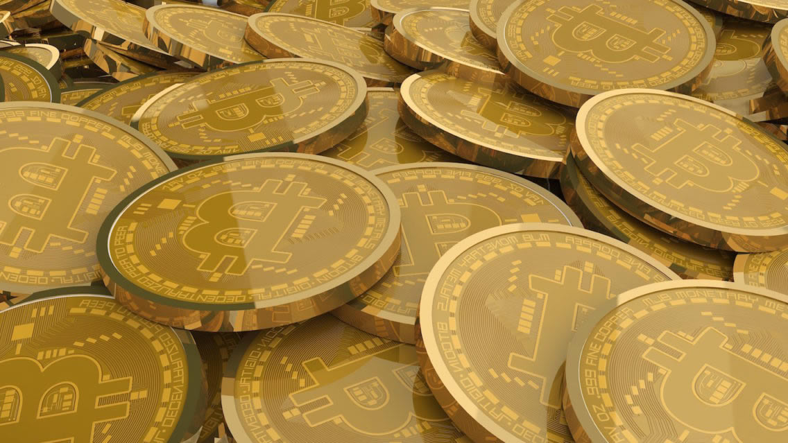 stock image of a pile of Bitcoin
