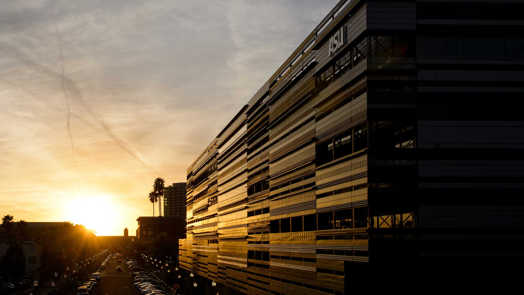 ASU's College Avenue Commons building against a beautiful golden sunset