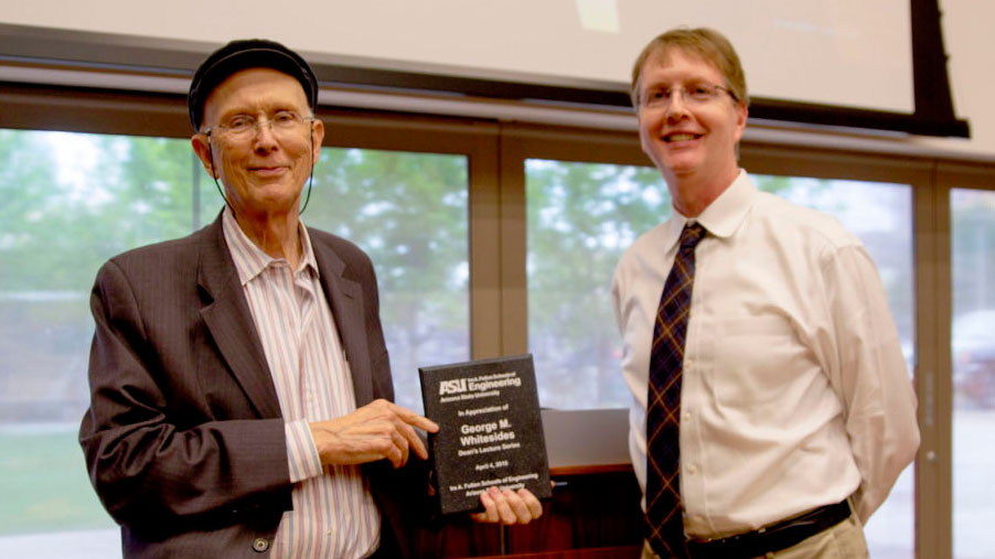 Harvard University Professor George M. Whitesides and Arizona State University's Ira A. Fulton Schools of Engineering Dean Kyle Squires pose at the April 4 Dean's Distinguished Lecture at ASU