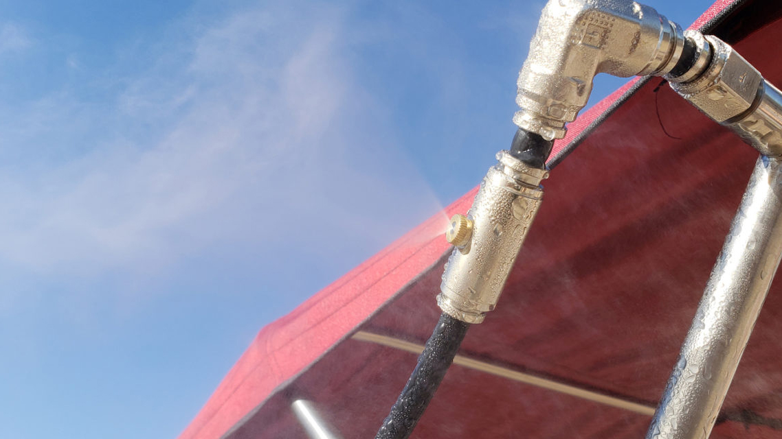 Close-up image of a spraying boat mister