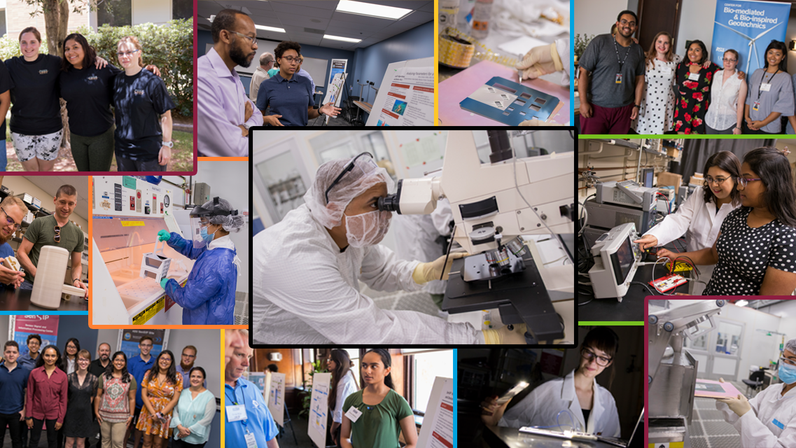 Collage of photos depicting students researching in labs