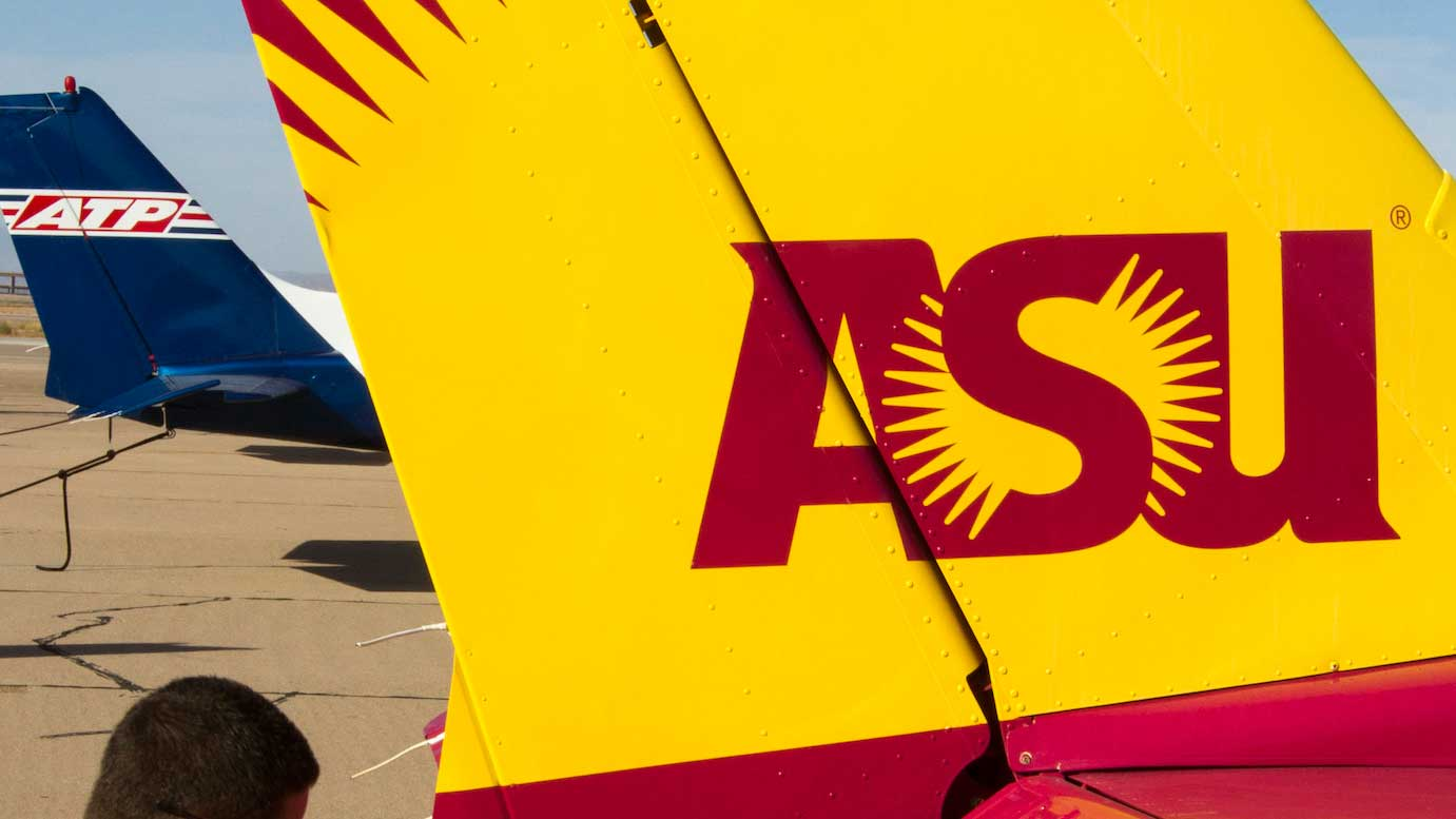 ASU logo painted on a plane
