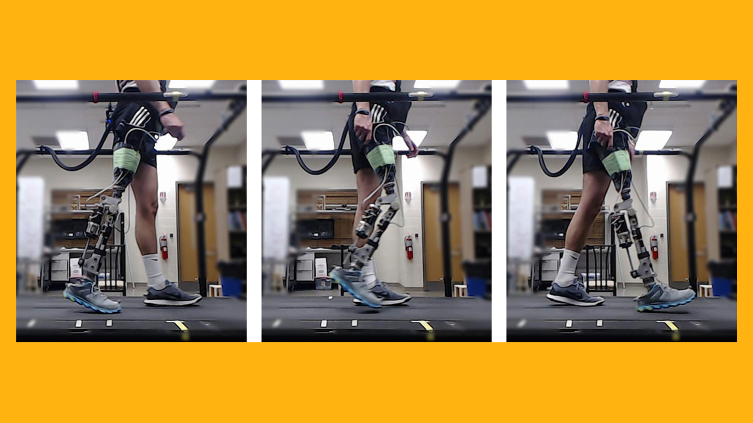 three frames showing a person's legs, one with a prosthetic, walking
