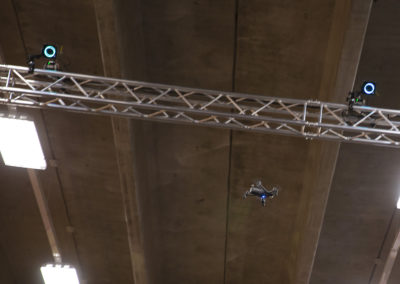 A drone nears the 23 foot ceiling.