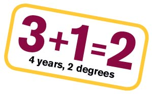 3+1=2, 4 years, 2 degrees