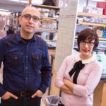Samira Kiani and Mo Ebrahimkhani stand together in a lab