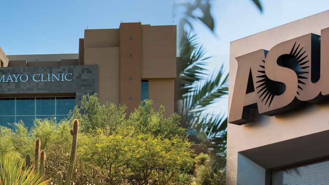 Mayo Clinic building and ASU logo statue combined in one photo.