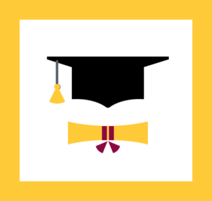graphic of a mortarboard and gown