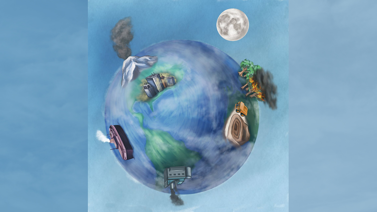 Drawing of the earth with industrial systems drawn larger than life all around the globe.