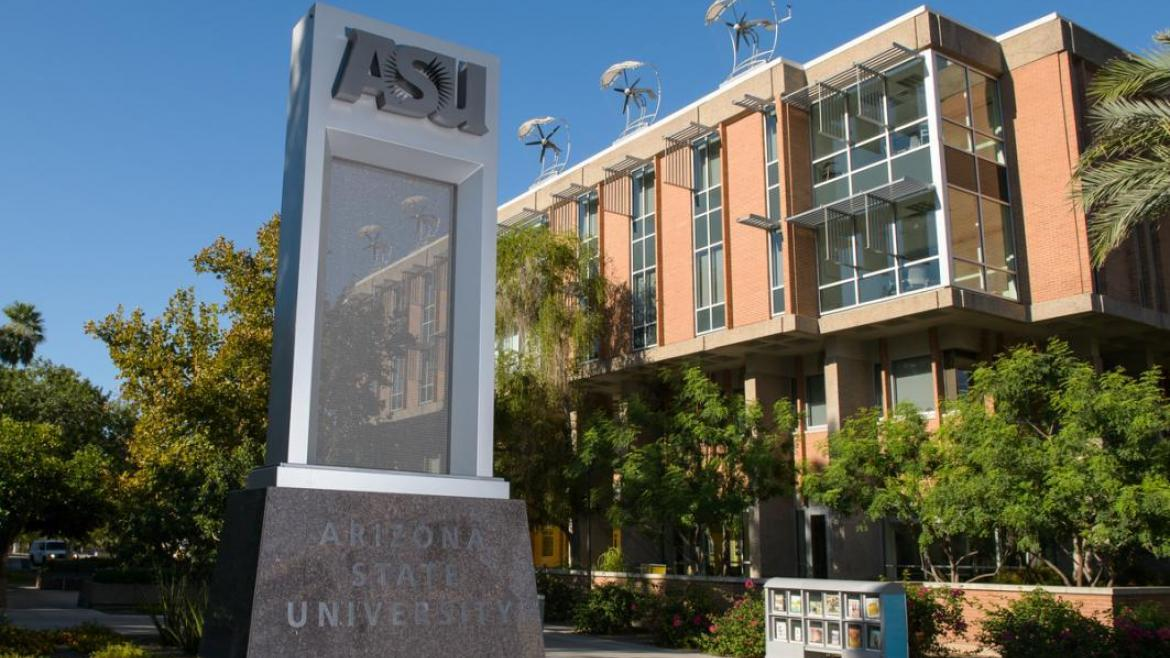 Scenic view of ASU's logo on a plinth outside Wrigley Hall on the Tempe campus