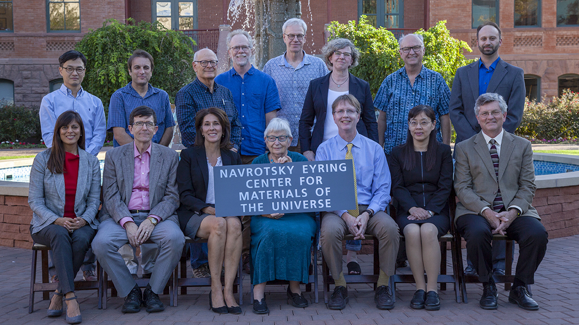 ASU VIPs pose together for a photo to mark the opening of the Navrotsky Eyring Center for Materials of the Universe