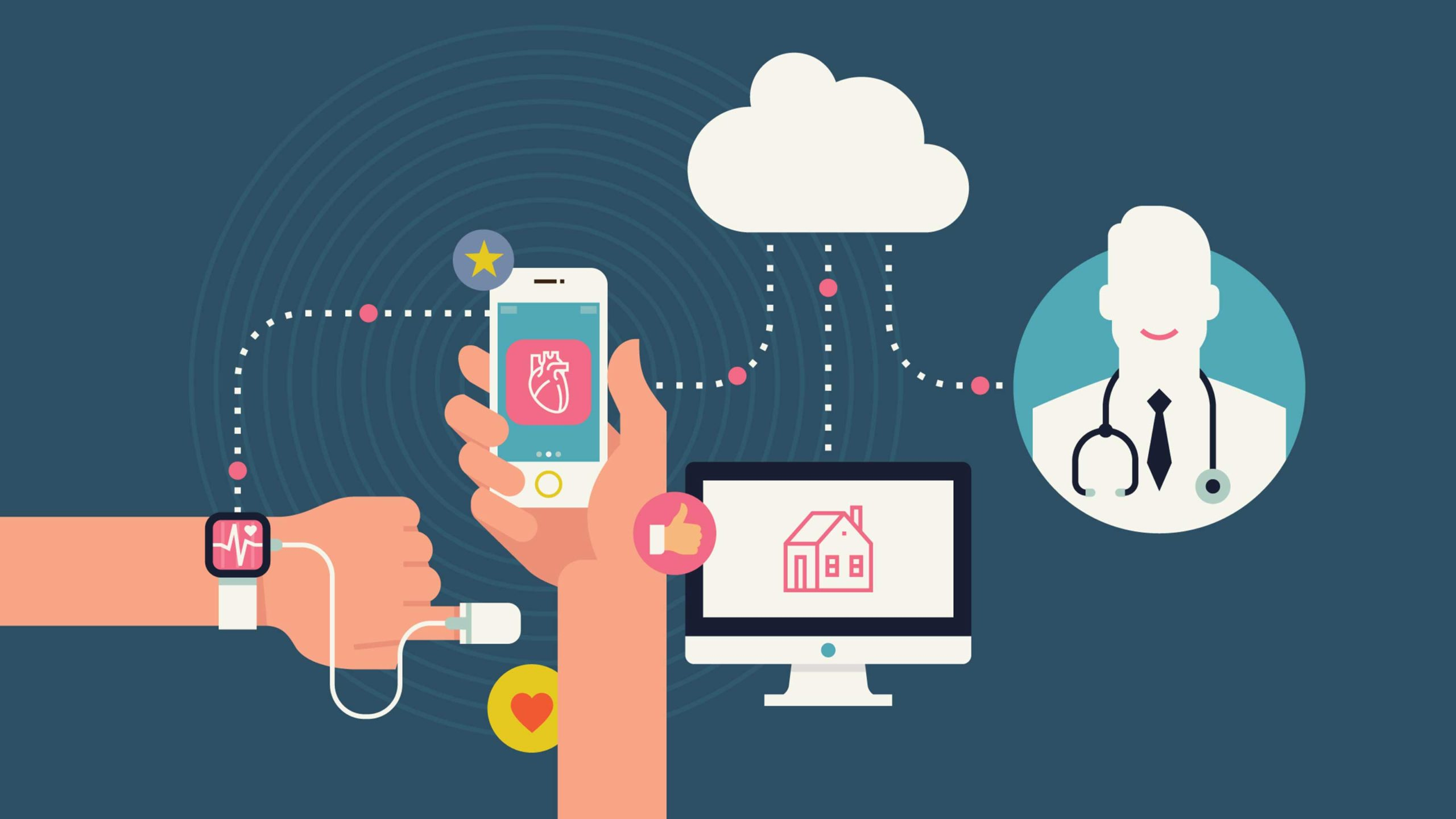 """stock image cartoon showing connected devices all connected to """"the cloud"""""""