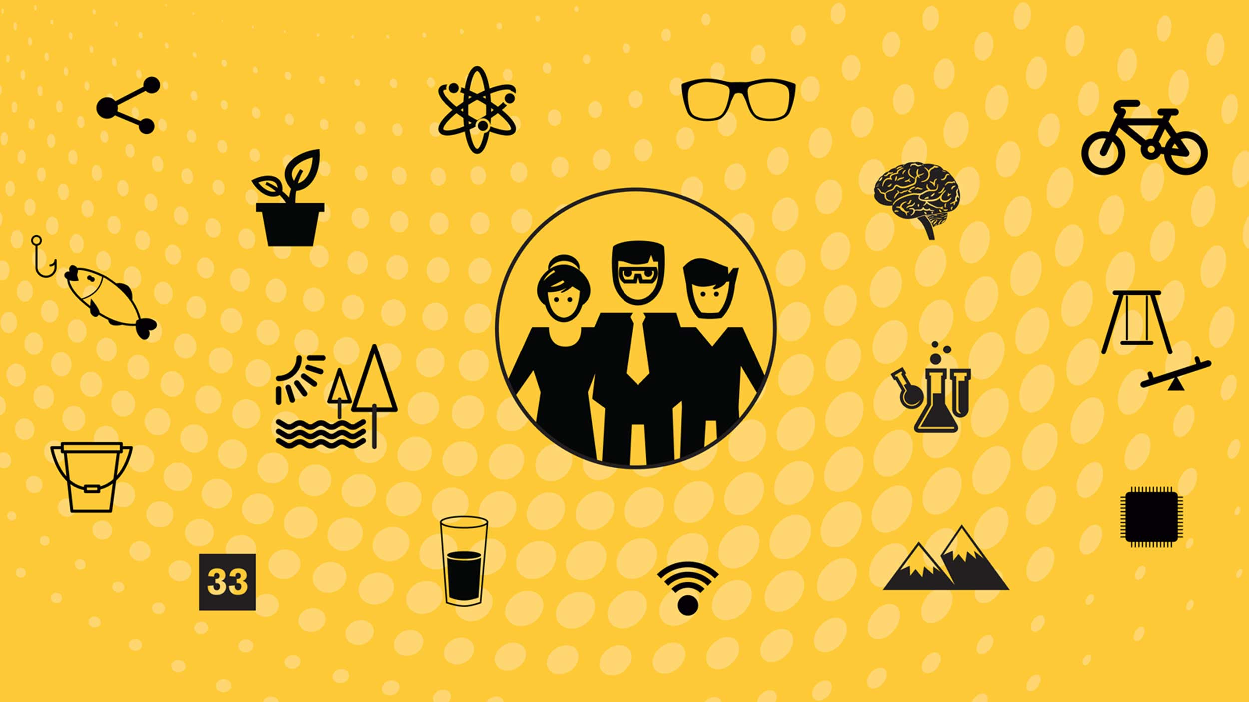 Stylized graphic showing several icons of life: family, science, brain, bike, glasses, atom, fishing, forest, microchips - all representing research done by EPICS students