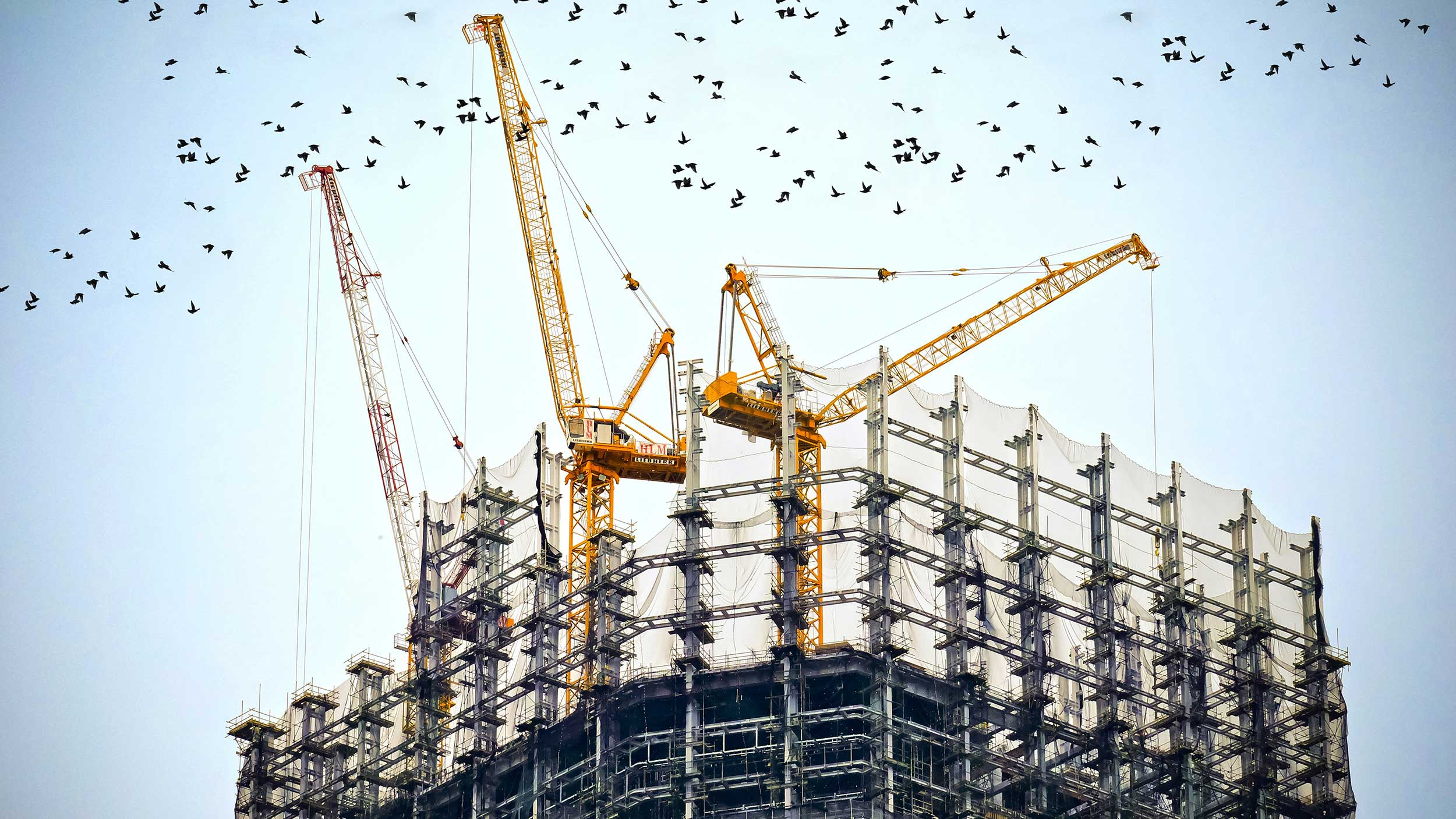 View of a construction site showing lots of sky
