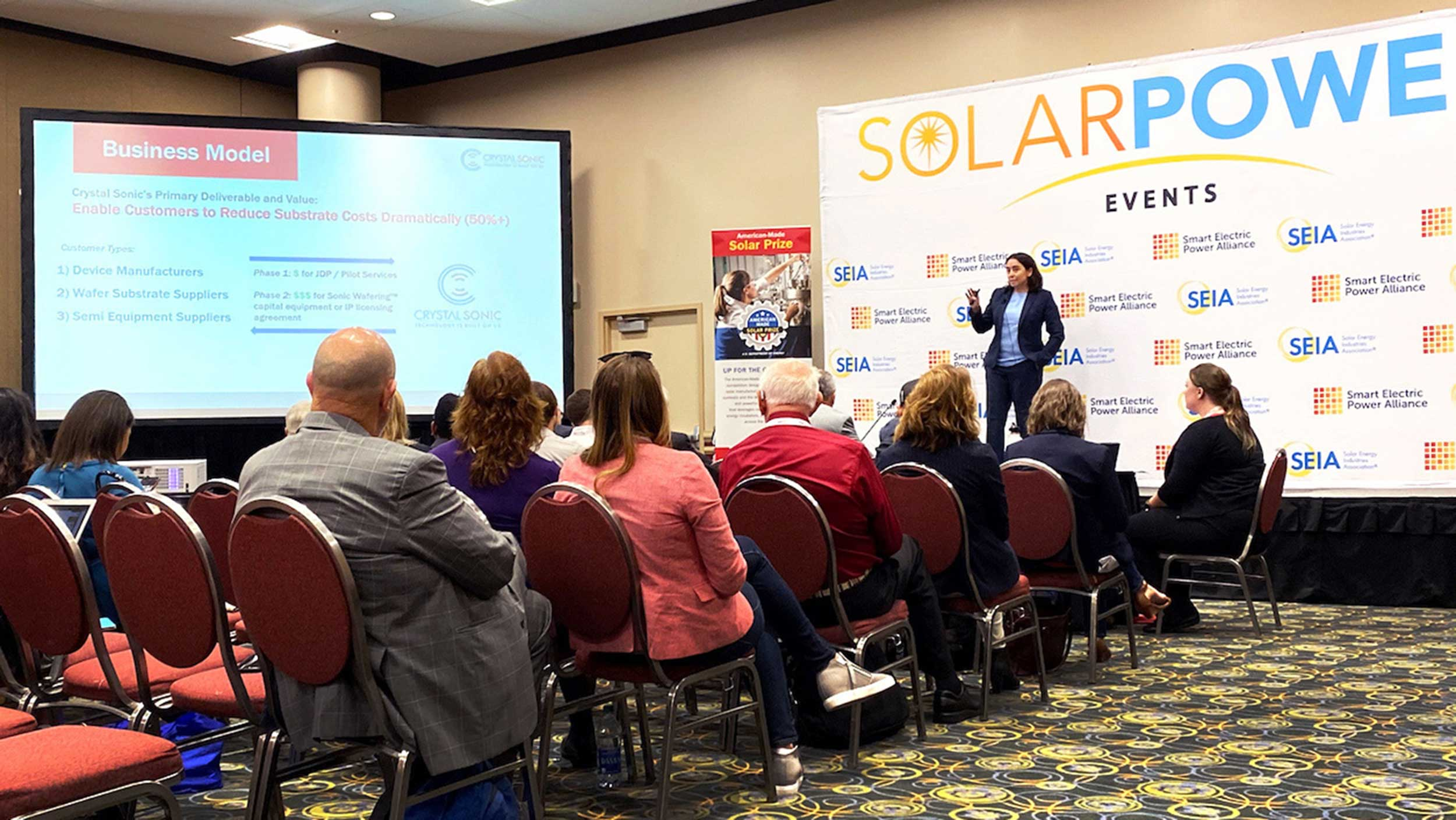 Mariana Bertoni speaks at the American-Made Solar Prize competition in September 2019