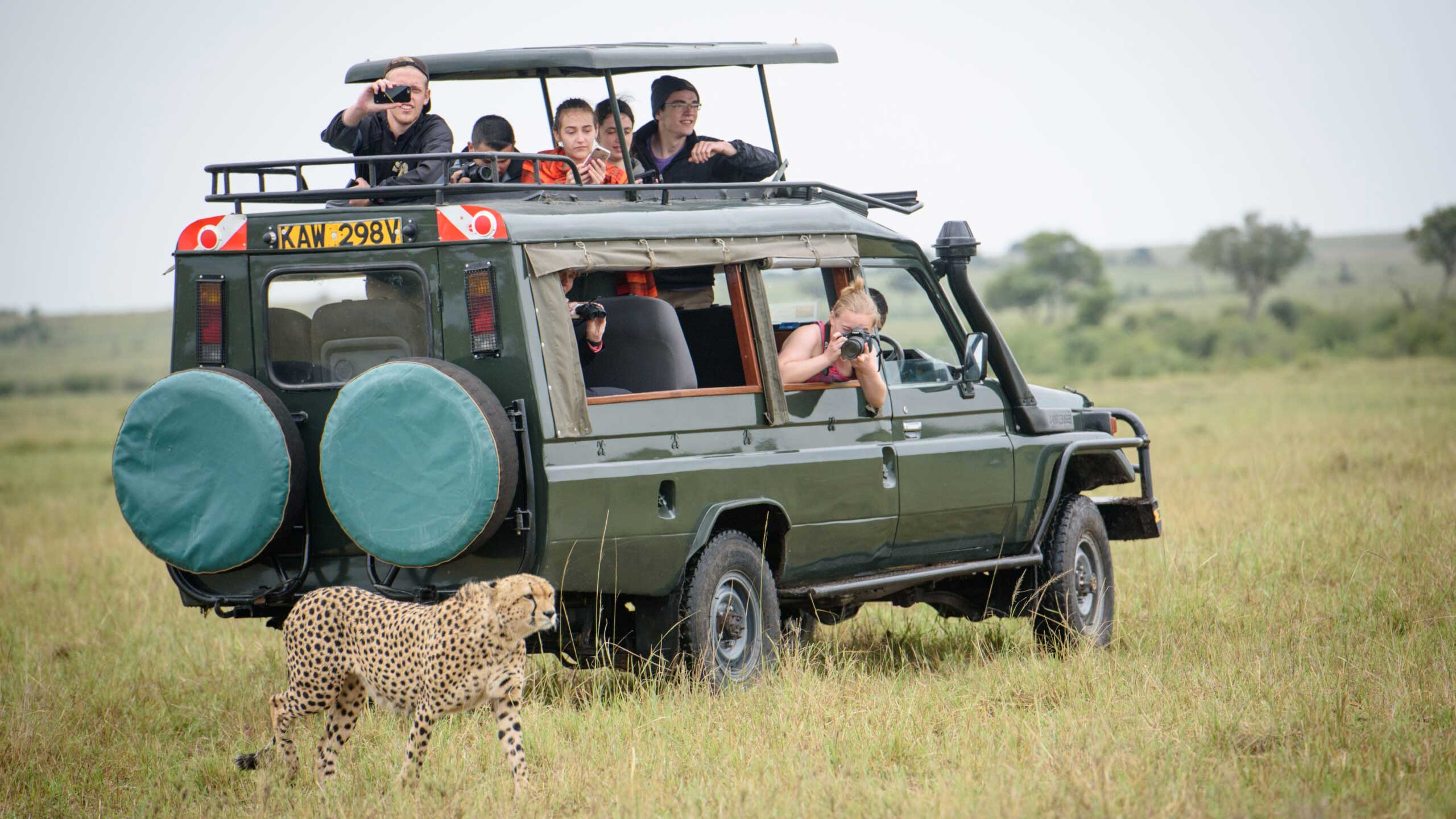 Kelly Anderson in safari vehicle photographing a cheetah