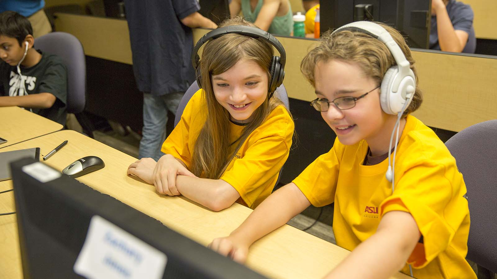 Two students have fun at a past year's Game Camp