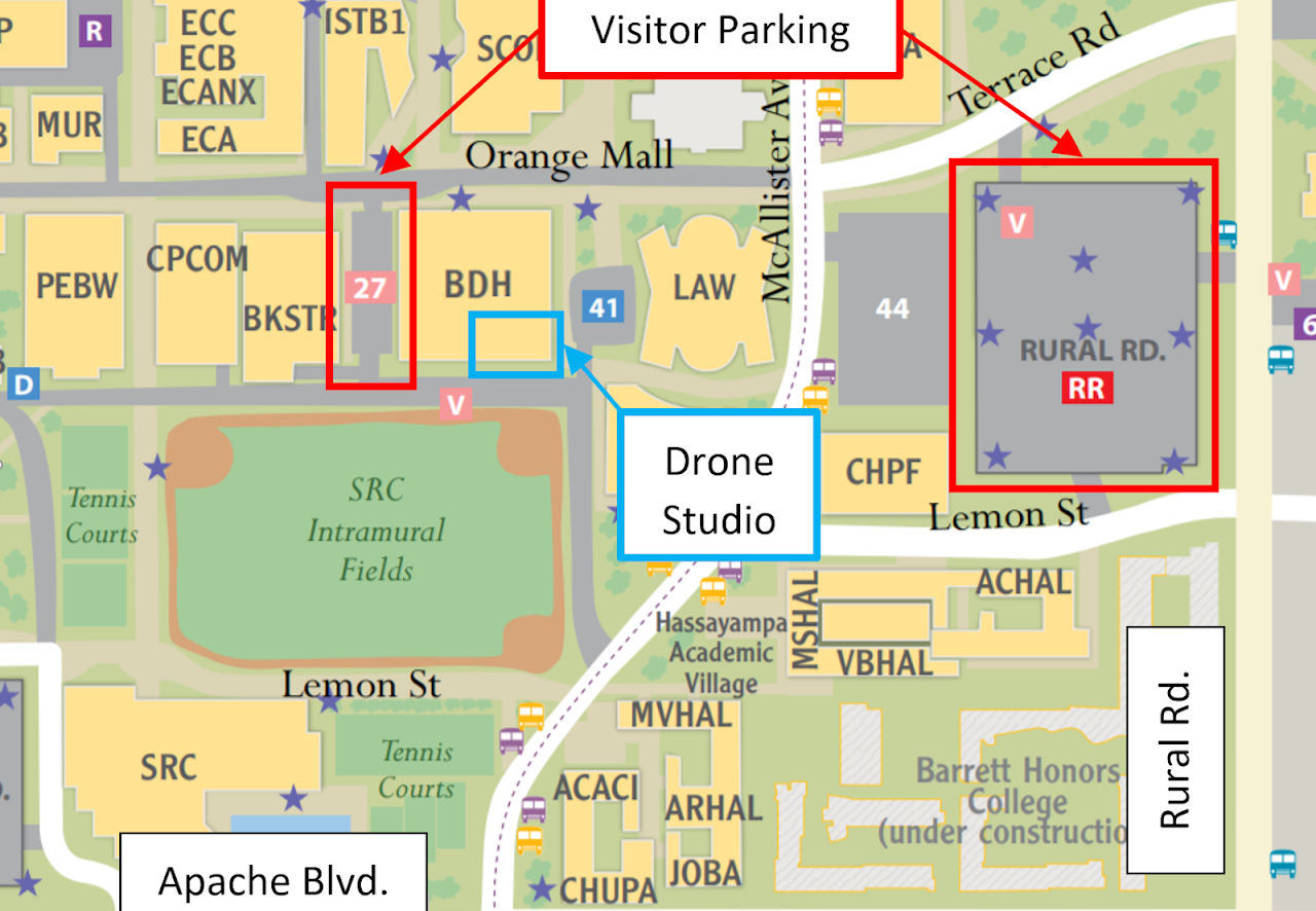Map indicating Drone Studio Parking