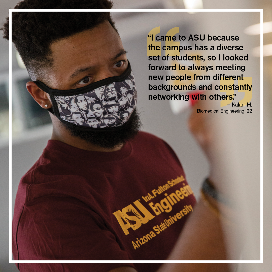 Black biomedical student Kalani H. is pictured with a quote about campus diversity