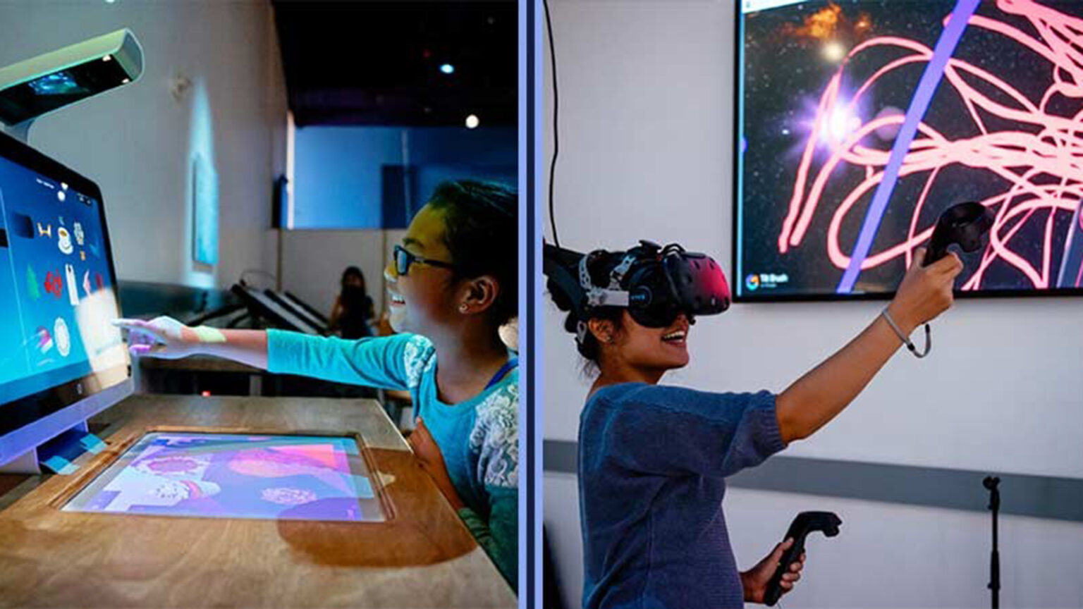Images of two children doing virtual reality and computer touch screen activities