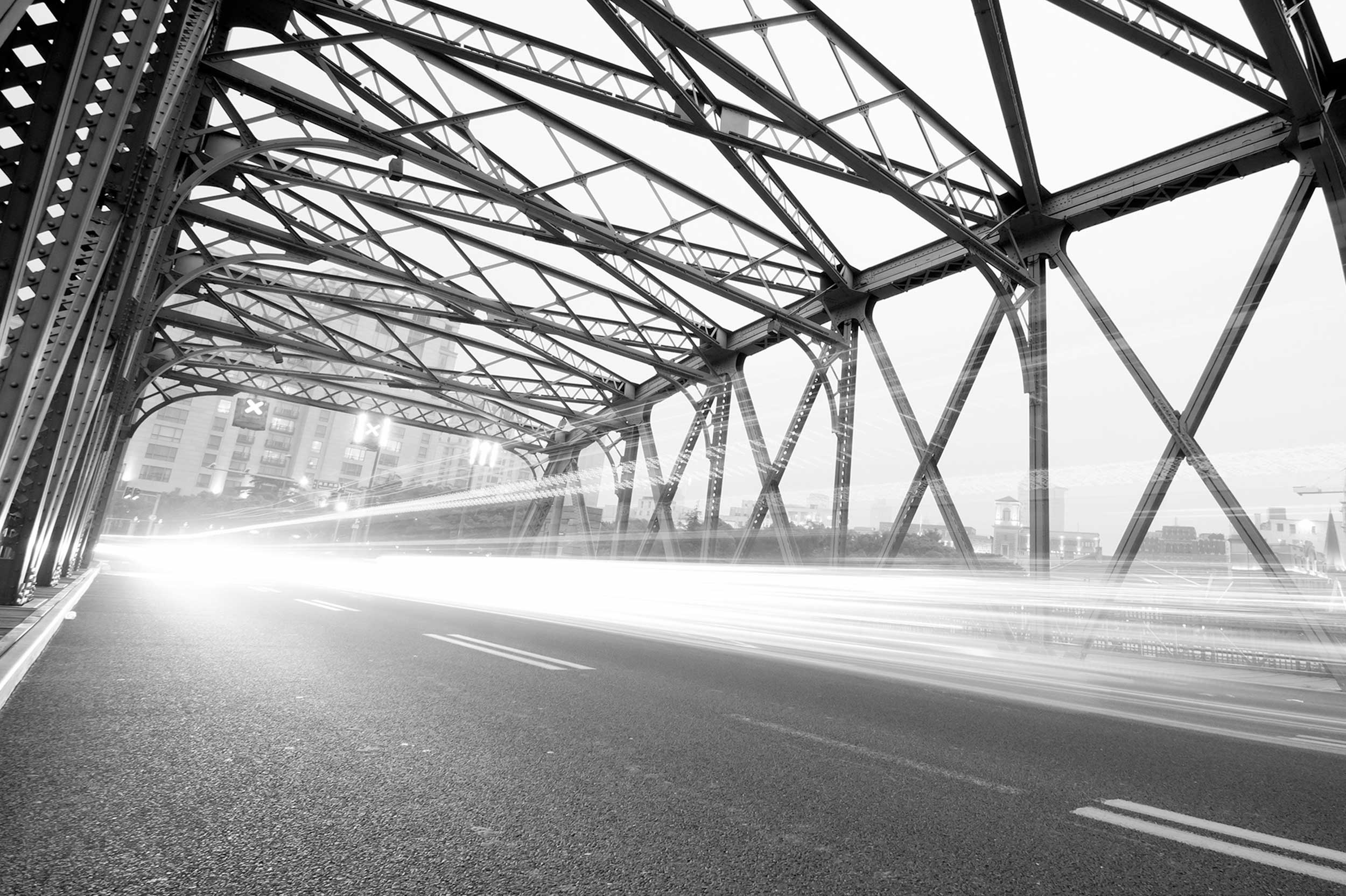 stock image of a traffic whooshing over a bridge