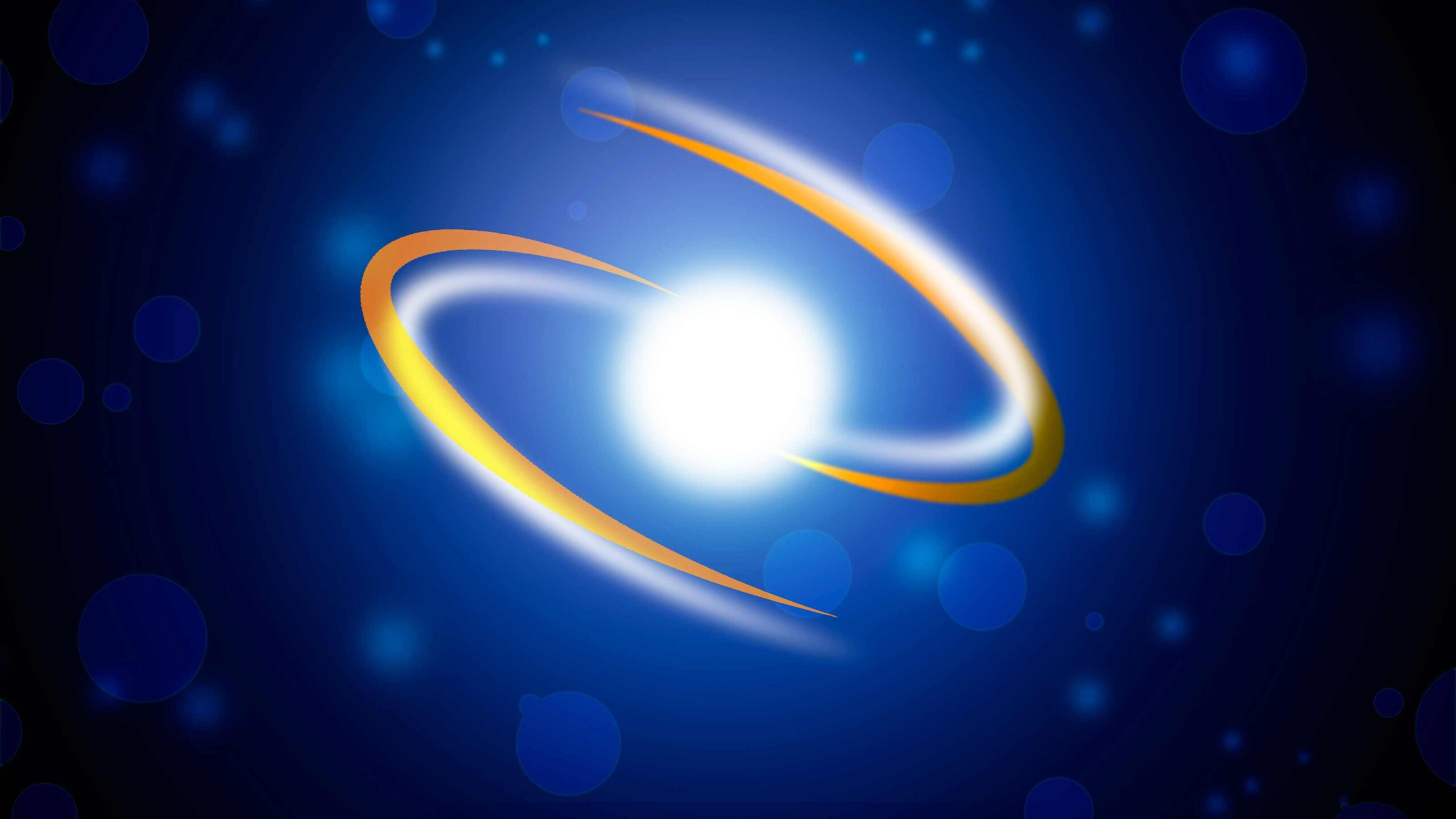 Gold electron swirling on top of a blue background.