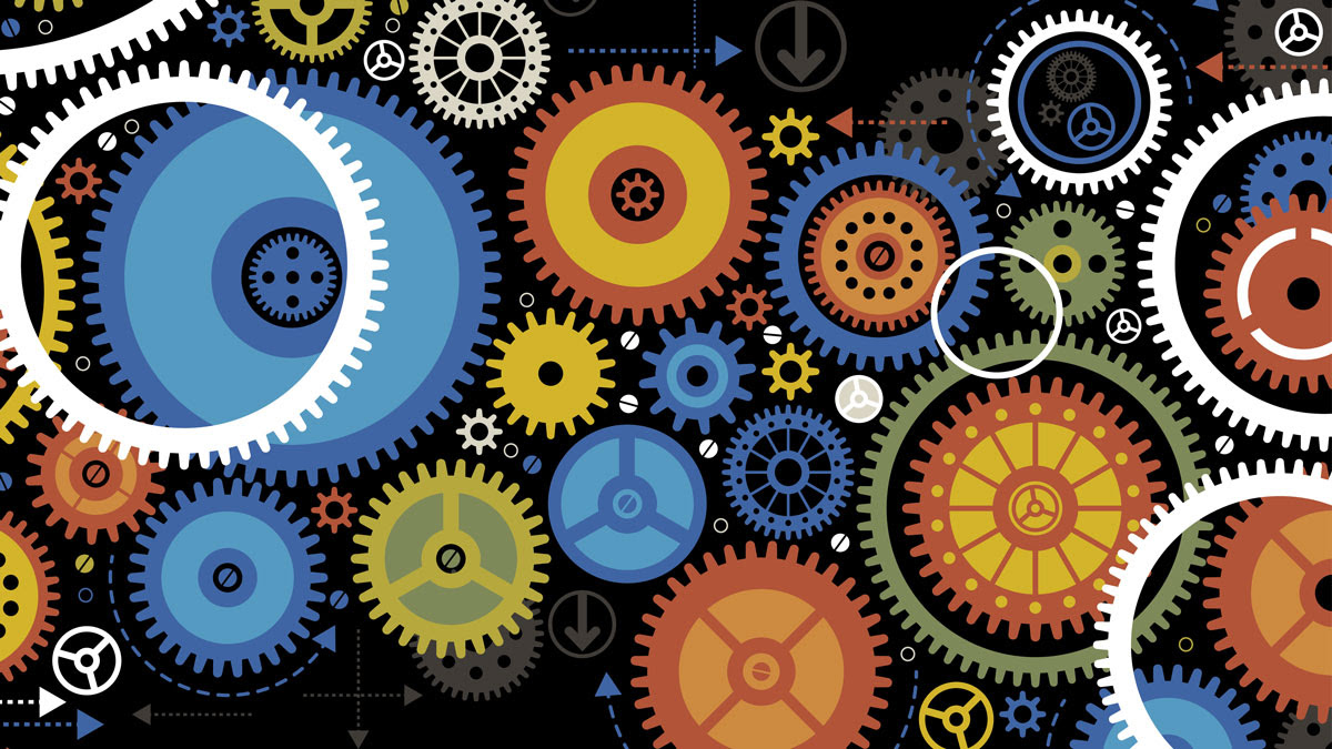 Colorful graphic showing many gears in various shapes, sizes and colors
