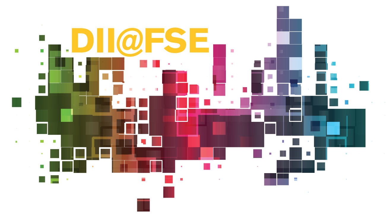 """Colorful cubic graphic with """"DII@FSE"""" superimposed"""